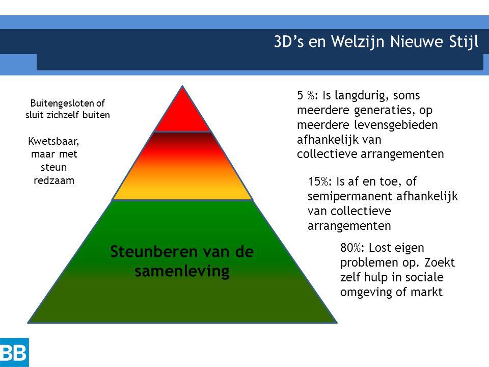 3D's en Welzijn Nieuwe Stijl Steunberen van de samenleving Kwetsbaar, maar met steun redzaam Buitengesloten of sluit zichzelf buiten 80%: Lost eigen problemen op.