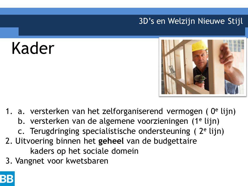 3D's en Welzijn Nieuwe Stijl Kader 1. a.