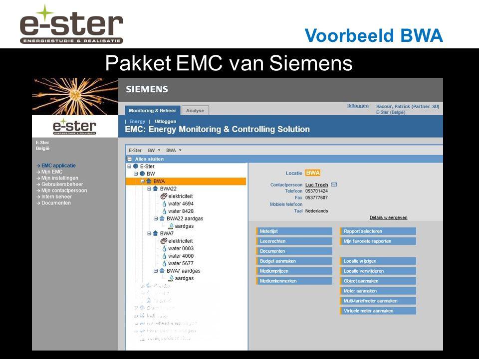 Voorbeeld BWA Pakket EMC van Siemens