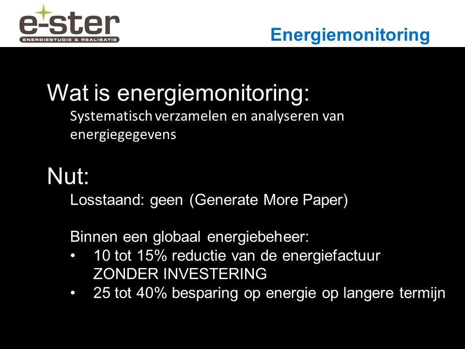 Energiemonitoring Wat is energiemonitoring: Systematisch verzamelen en analyseren van energiegegevens Nut: Losstaand: geen (Generate More Paper) Binnen een globaal energiebeheer: 10 tot 15% reductie van de energiefactuur ZONDER INVESTERING 25 tot 40% besparing op energie op langere termijn