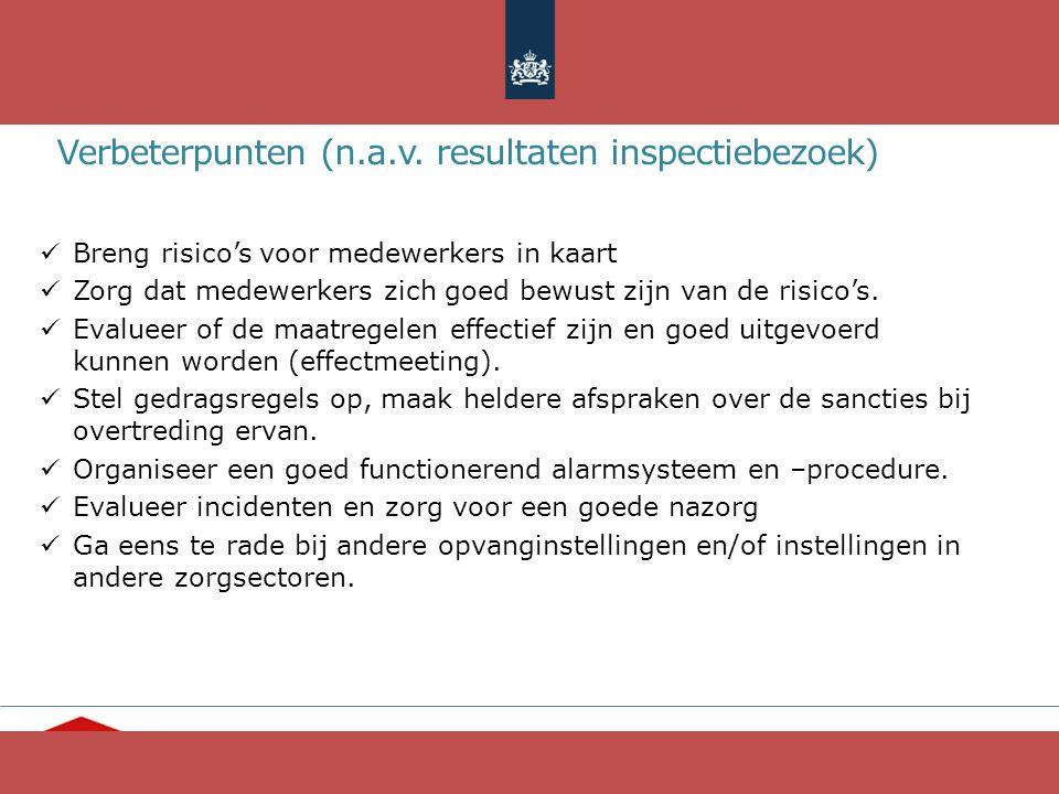 """""""Ieder mens telt"""" www.opvang.nl Verbeterpunten (n.a.v. resultaten inspectiebezoek) Breng risico's voor medewerkers in kaart Zorg dat medewerkers zich"""