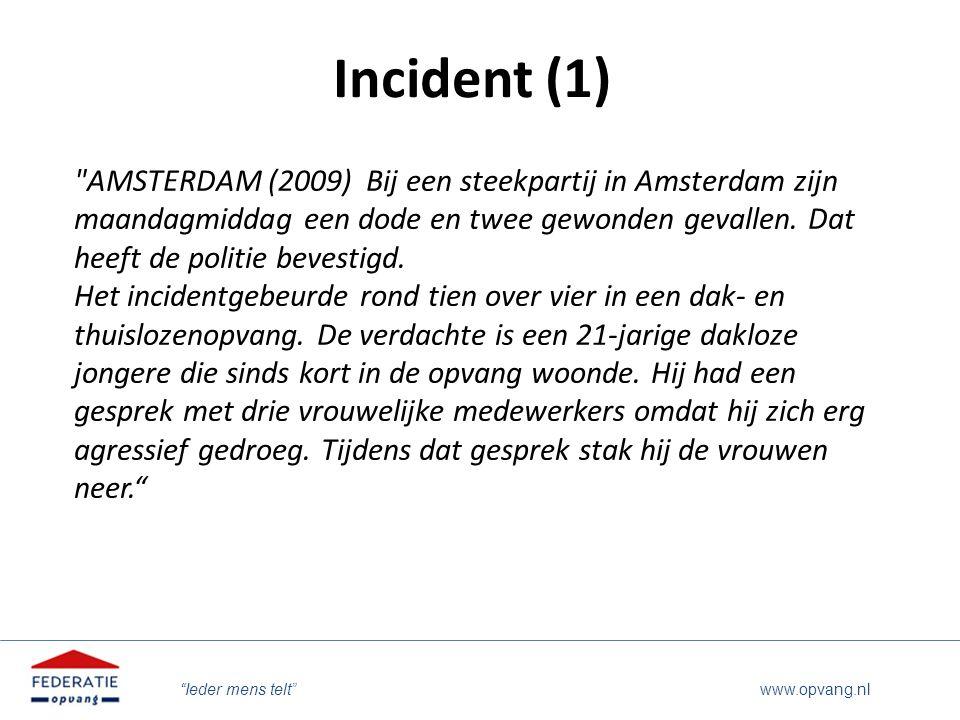 """Ieder mens telt"" www.opvang.nl Incident (1)"