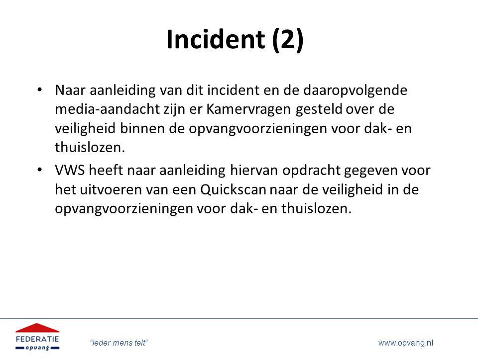 """""""Ieder mens telt"""" www.opvang.nl Incident (2) Naar aanleiding van dit incident en de daaropvolgende media-aandacht zijn er Kamervragen gesteld over de"""