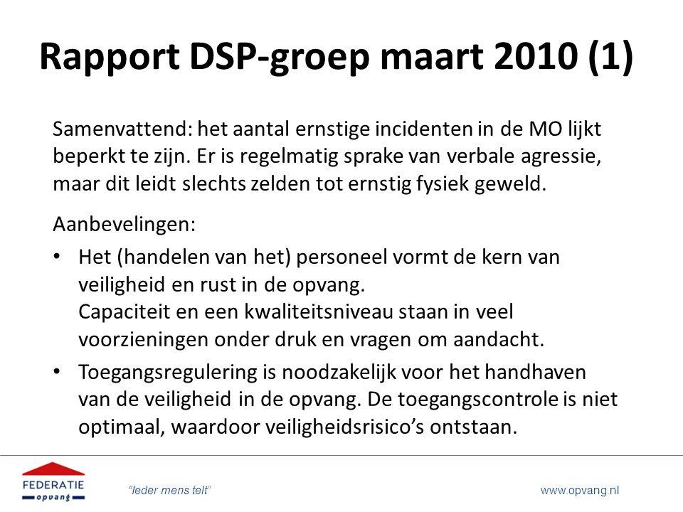 """""""Ieder mens telt"""" www.opvang.nl Rapport DSP-groep maart 2010 (1) Samenvattend: het aantal ernstige incidenten in de MO lijkt beperkt te zijn. Er is re"""