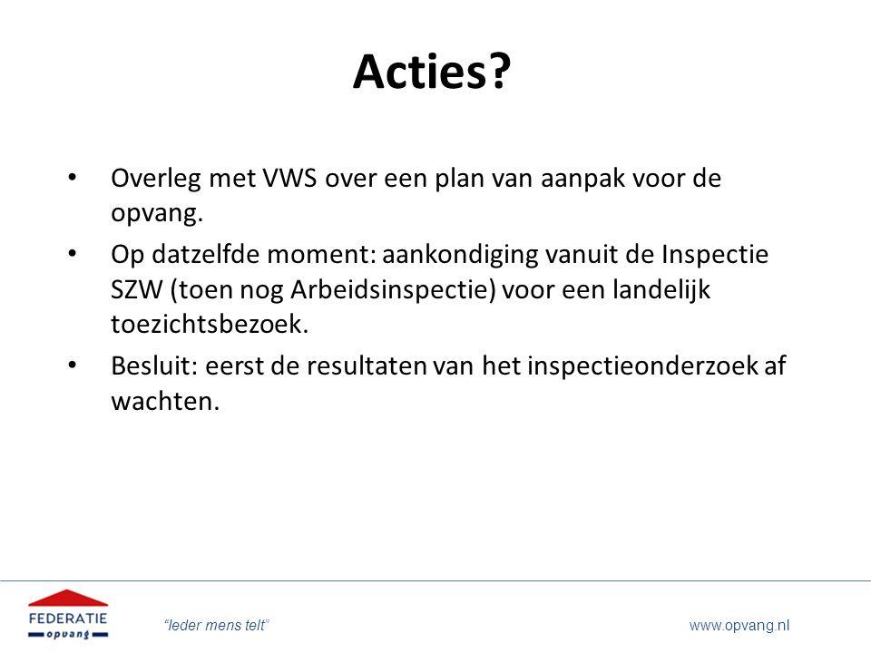 """""""Ieder mens telt"""" www.opvang.nl Acties? Overleg met VWS over een plan van aanpak voor de opvang. Op datzelfde moment: aankondiging vanuit de Inspectie"""