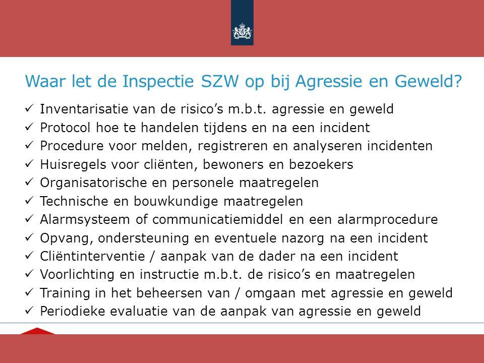 """""""Ieder mens telt"""" www.opvang.nl Waar let de Inspectie SZW op bij Agressie en Geweld? Inventarisatie van de risico's m.b.t. agressie en geweld Protocol"""
