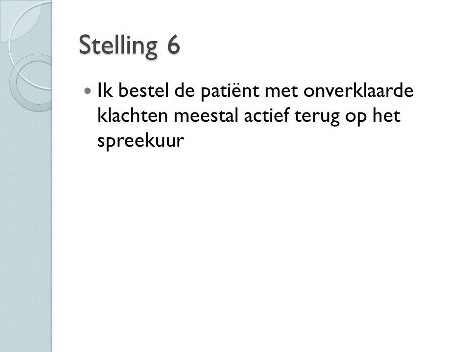 Stelling 6 Ik bestel de patiënt met onverklaarde klachten meestal actief terug op het spreekuur