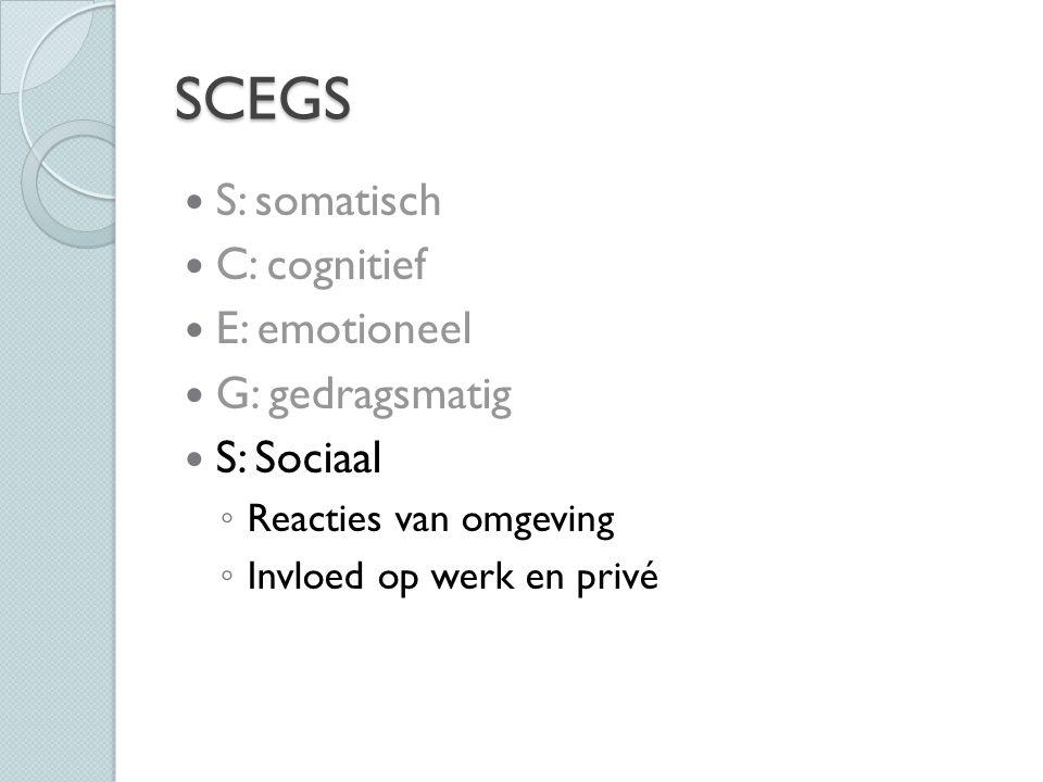 SCEGS S: somatisch C: cognitief E: emotioneel G: gedragsmatig S: Sociaal ◦ Reacties van omgeving ◦ Invloed op werk en privé