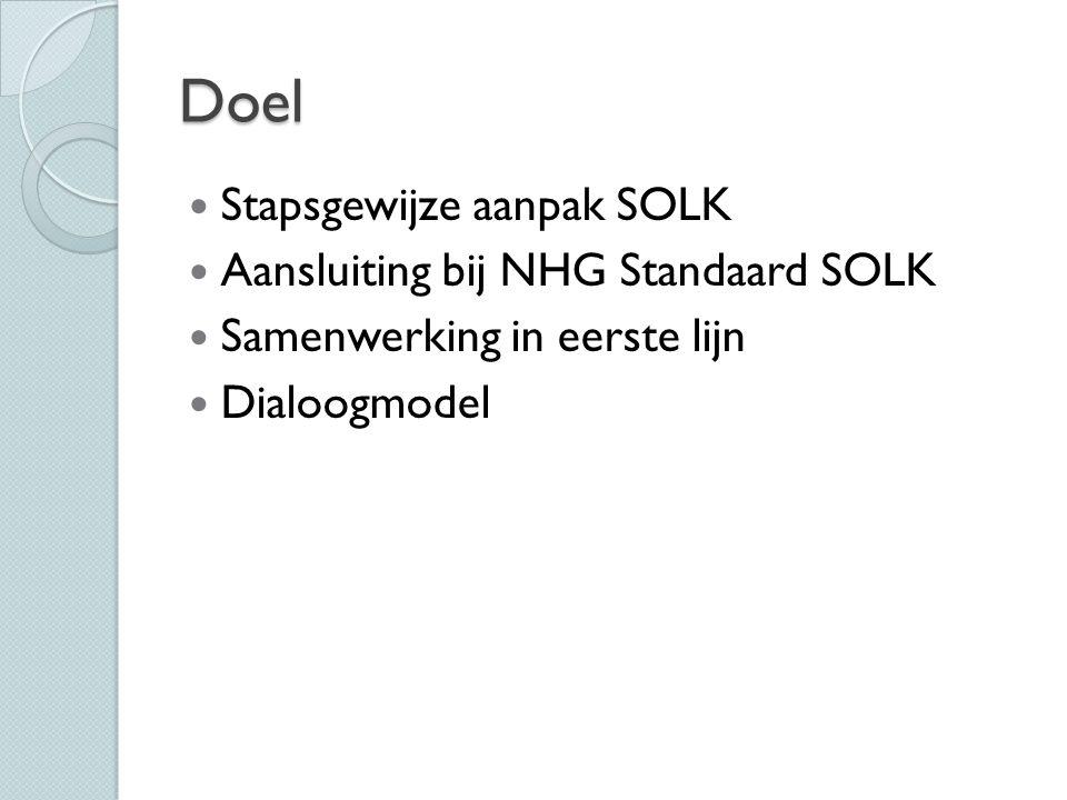 Doel Stapsgewijze aanpak SOLK Aansluiting bij NHG Standaard SOLK Samenwerking in eerste lijn Dialoogmodel
