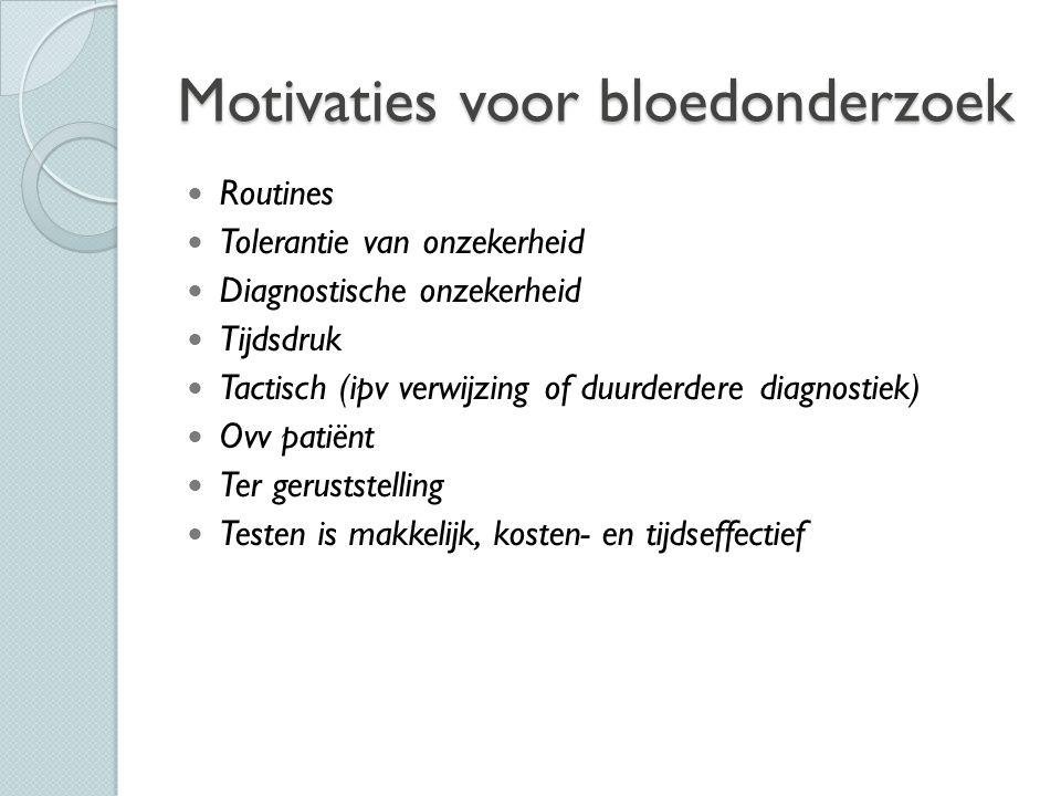Motivaties voor bloedonderzoek Routines Tolerantie van onzekerheid Diagnostische onzekerheid Tijdsdruk Tactisch (ipv verwijzing of duurderdere diagnos