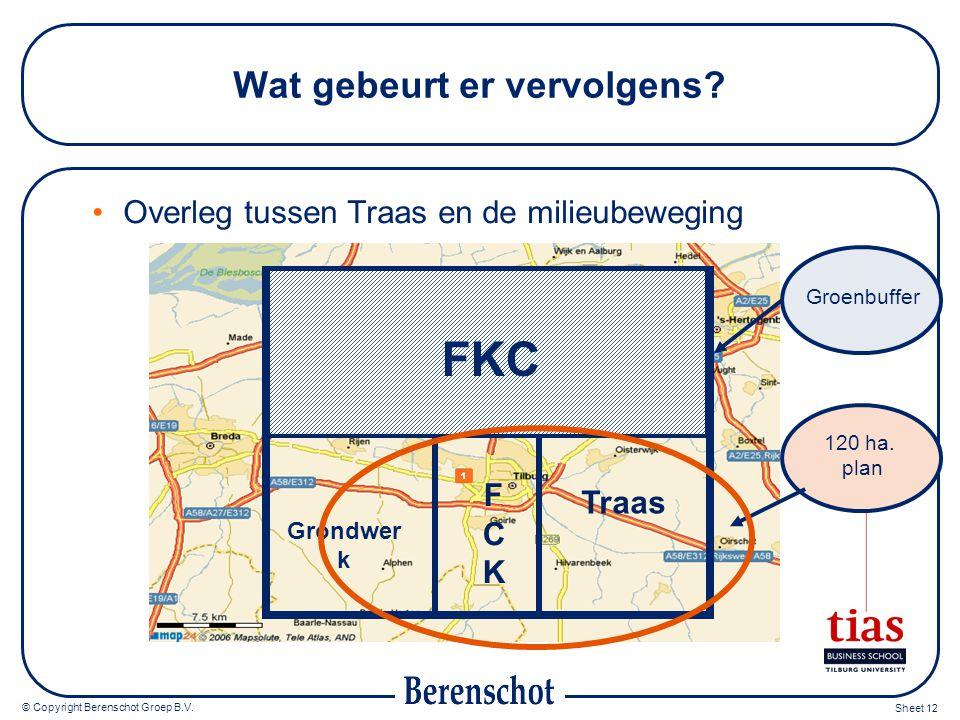 © Copyright Berenschot Groep B.V. Sheet 12 Wat gebeurt er vervolgens? Overleg tussen Traas en de milieubeweging Grondwer k FCKFCK Traas FKC Groenbuffe