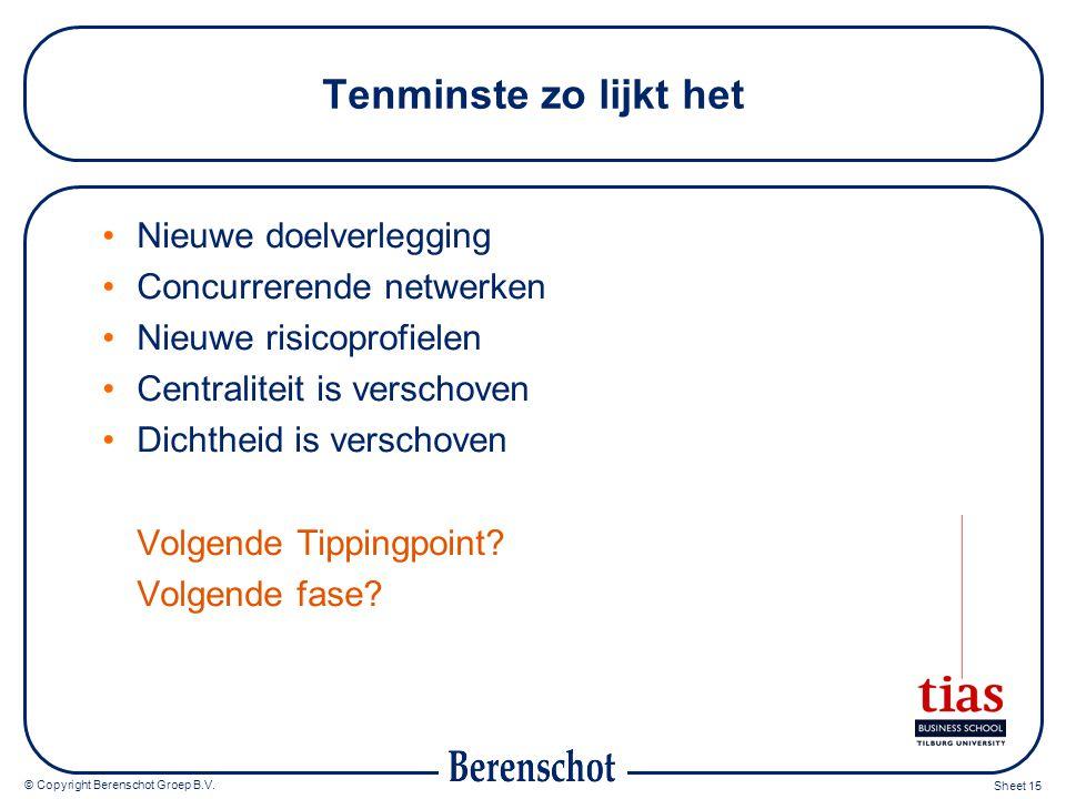 © Copyright Berenschot Groep B.V. Sheet 15 Tenminste zo lijkt het Nieuwe doelverlegging Concurrerende netwerken Nieuwe risicoprofielen Centraliteit is