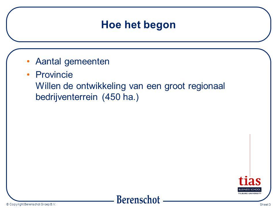 © Copyright Berenschot Groep B.V. Sheet 3 Hoe het begon Aantal gemeenten Provincie Willen de ontwikkeling van een groot regionaal bedrijventerrein (45