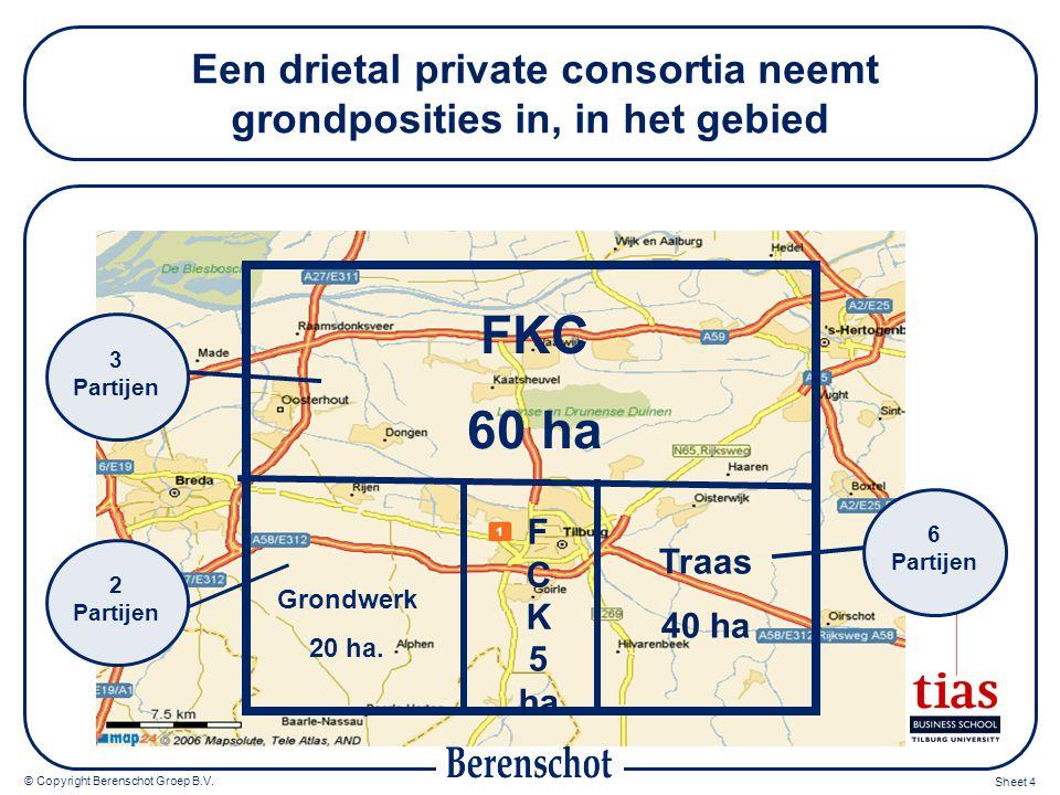 © Copyright Berenschot Groep B.V. Sheet 4 Een drietal private consortia neemt grondposities in, in het gebied FKC 60 ha Grondwerk 20 ha. F C K 5 ha Tr
