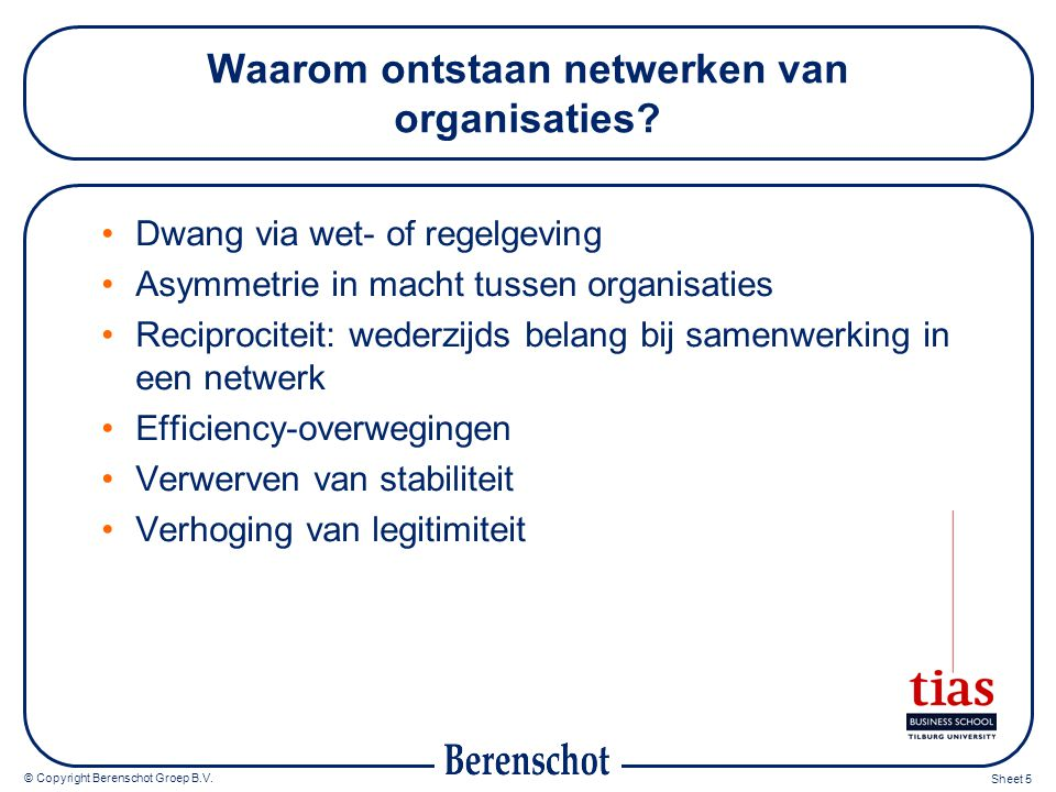 © Copyright Berenschot Groep B.V. Sheet 5 Waarom ontstaan netwerken van organisaties? Dwang via wet- of regelgeving Asymmetrie in macht tussen organis