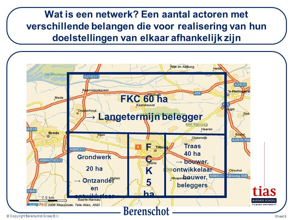 © Copyright Berenschot Groep B.V. Sheet 6 Wat is een netwerk? Een aantal actoren met verschillende belangen die voor realisering van hun doelstellinge