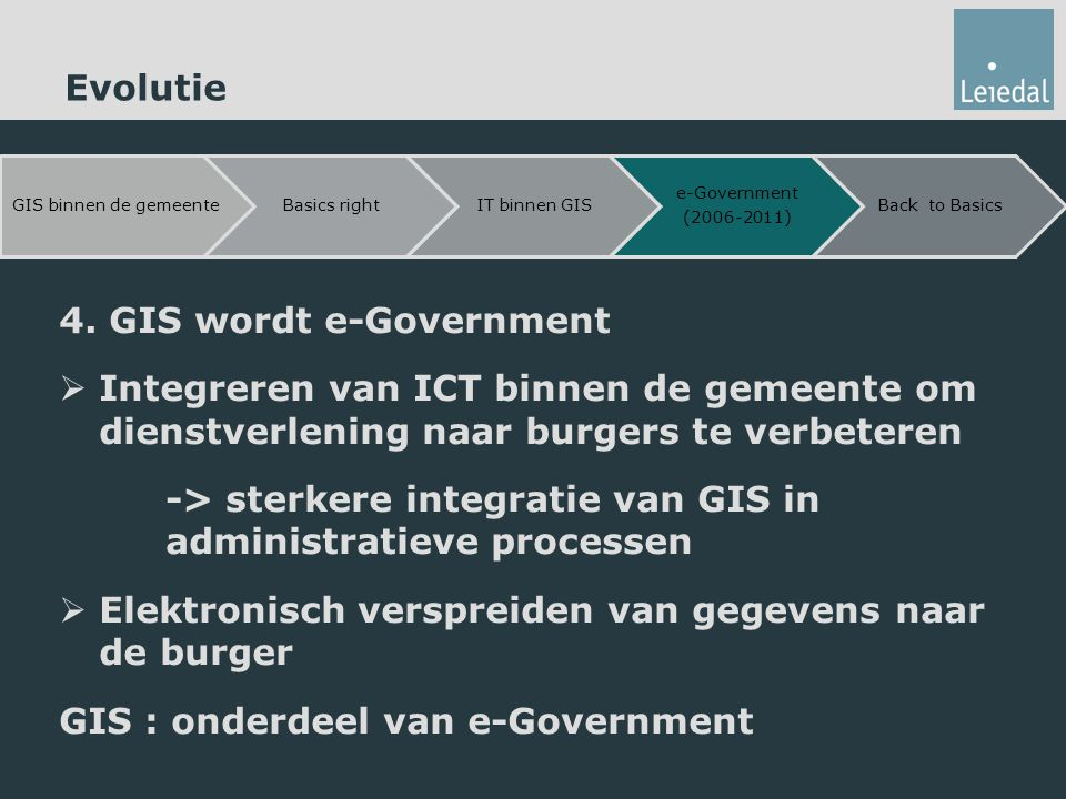 4. GIS wordt e-Government  Integreren van ICT binnen de gemeente om dienstverlening naar burgers te verbeteren -> sterkere integratie van GIS in admi