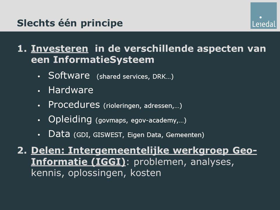 Slechts één principe 1.Investeren in de verschillende aspecten van een InformatieSysteem Software (shared services, DRK…) Hardware Procedures (rioleringen, adressen,…) Opleiding (govmaps, egov-academy,…) Data (GDI, GISWEST, Eigen Data, Gemeenten) 2.Delen: Intergemeentelijke werkgroep Geo- Informatie (IGGI): problemen, analyses, kennis, oplossingen, kosten