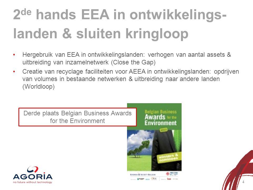 2 de hands EEA in ontwikkelings- landen & sluiten kringloop 4 Hergebruik van EEA in ontwikkelingslanden: verhogen van aantal assets & uitbreiding van inzamelnetwerk (Close the Gap) Creatie van recyclage faciliteiten voor AEEA in ontwikkelingslanden: opdrijven van volumes in bestaande netwerken & uitbreiding naar andere landen (Worldloop) Derde plaats Belgian Business Awards for the Environment