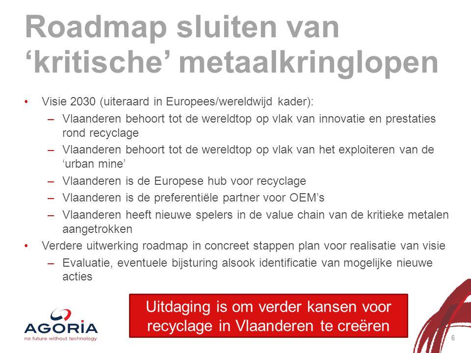 Roadmap sluiten van 'kritische' metaalkringlopen 6 Visie 2030 (uiteraard in Europees/wereldwijd kader): –Vlaanderen behoort tot de wereldtop op vlak van innovatie en prestaties rond recyclage –Vlaanderen behoort tot de wereldtop op vlak van het exploiteren van de 'urban mine' –Vlaanderen is de Europese hub voor recyclage –Vlaanderen is de preferentiële partner voor OEM's –Vlaanderen heeft nieuwe spelers in de value chain van de kritieke metalen aangetrokken Verdere uitwerking roadmap in concreet stappen plan voor realisatie van visie –Evaluatie, eventuele bijsturing alsook identificatie van mogelijke nieuwe acties Uitdaging is om verder kansen voor recyclage in Vlaanderen te creëren