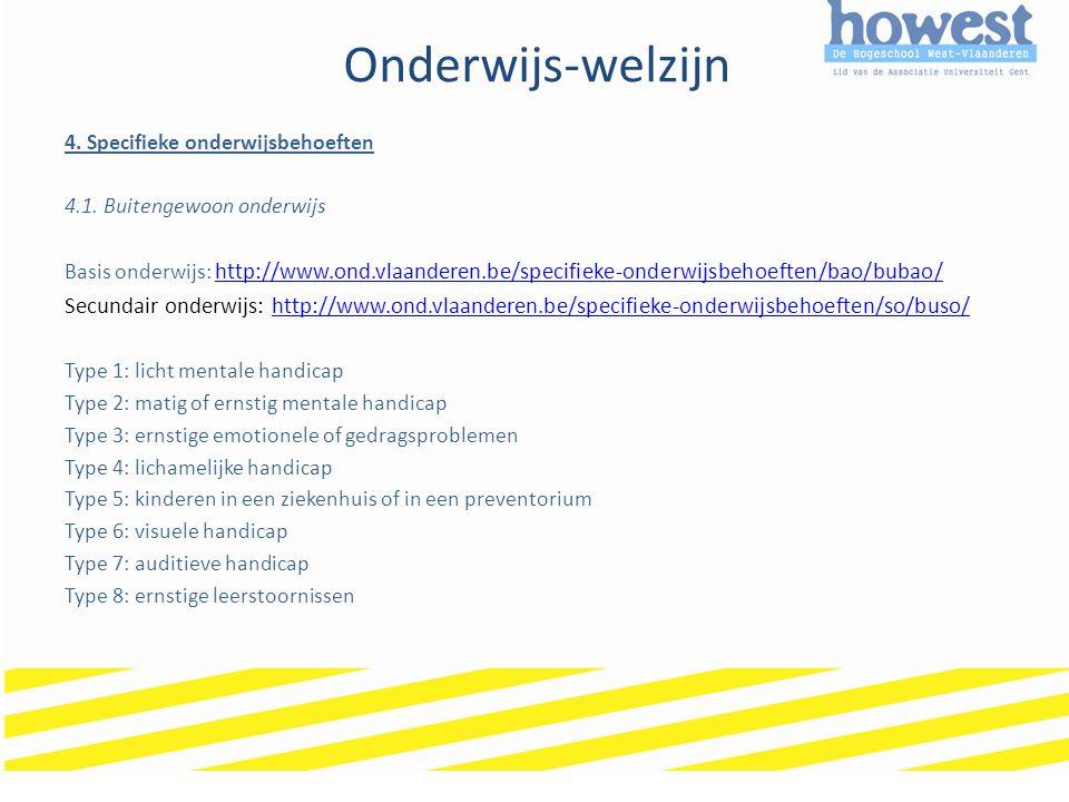 Onderwijs-welzijn 4. Specifieke onderwijsbehoeften 4.1. Buitengewoon onderwijs Basis onderwijs: http://www.ond.vlaanderen.be/specifieke-onderwijsbehoe