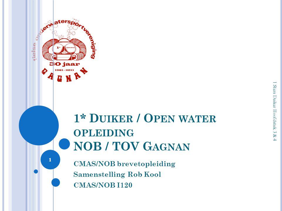 1* D UIKER / O PEN WATER OPLEIDING NOB / TOV G AGNAN CMAS/NOB brevetopleiding Samenstelling Rob Kool CMAS/NOB I120 1 1 Sters Duiker Hoofdstuk 3 & 4