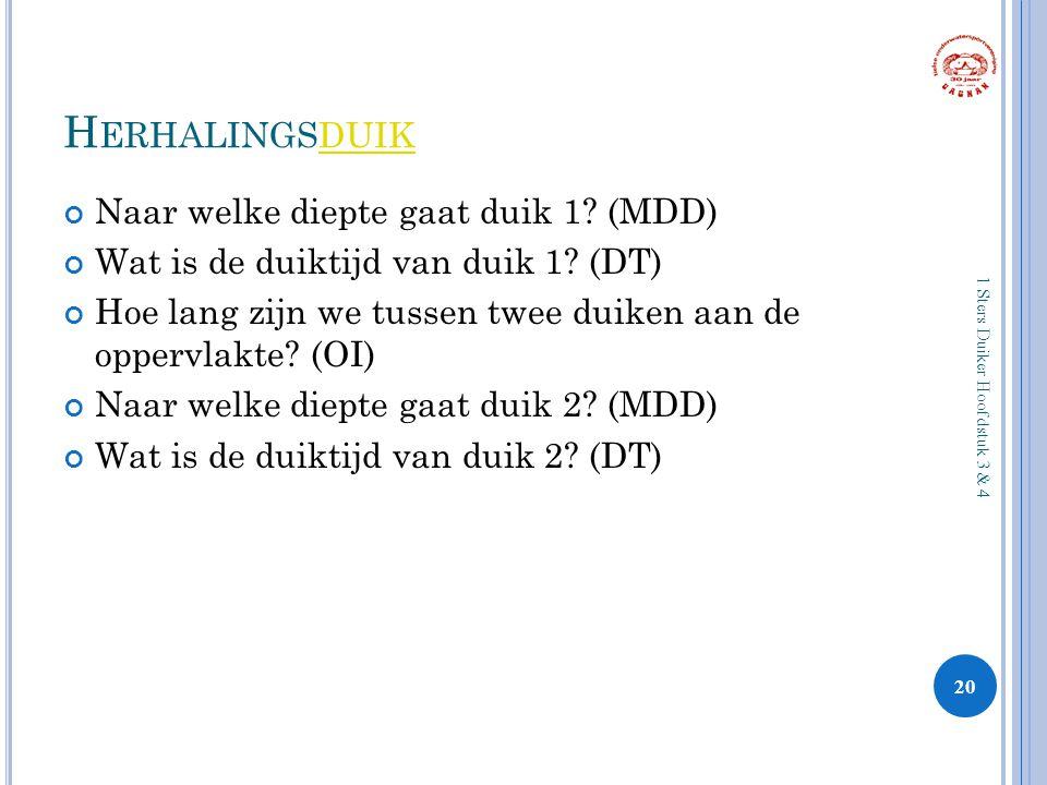 H ERHALINGSDUIKDUIK Naar welke diepte gaat duik 1? (MDD) Wat is de duiktijd van duik 1? (DT) Hoe lang zijn we tussen twee duiken aan de oppervlakte? (