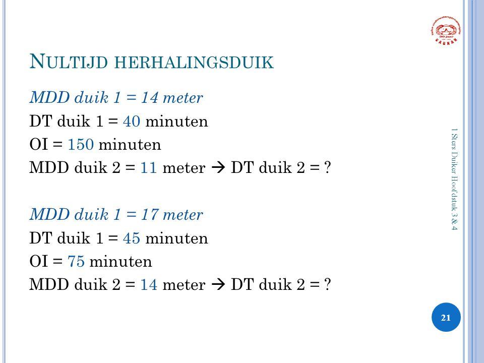N ULTIJD HERHALINGSDUIK MDD duik 1 = 14 meter DT duik 1 = 40 minuten OI = 150 minuten MDD duik 2 = 11 meter  DT duik 2 = ? MDD duik 1 = 17 meter DT d