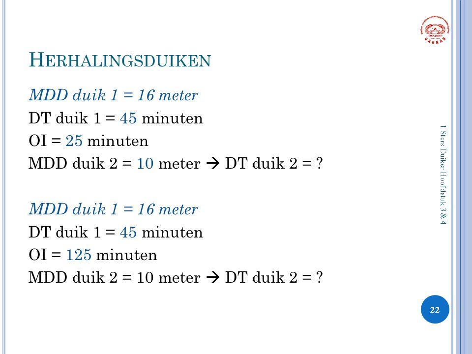 H ERHALINGSDUIKEN MDD duik 1 = 16 meter DT duik 1 = 45 minuten OI = 25 minuten MDD duik 2 = 10 meter  DT duik 2 = ? MDD duik 1 = 16 meter DT duik 1 =