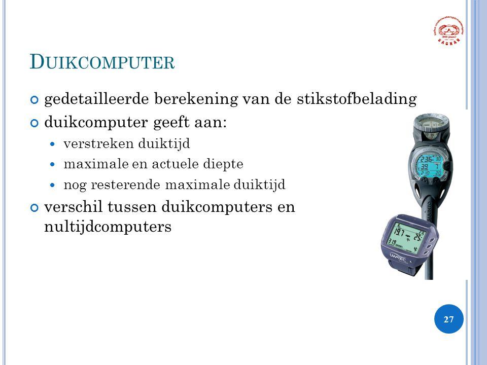 D UIKCOMPUTER gedetailleerde berekening van de stikstofbelading duikcomputer geeft aan: verstreken duiktijd maximale en actuele diepte nog resterende