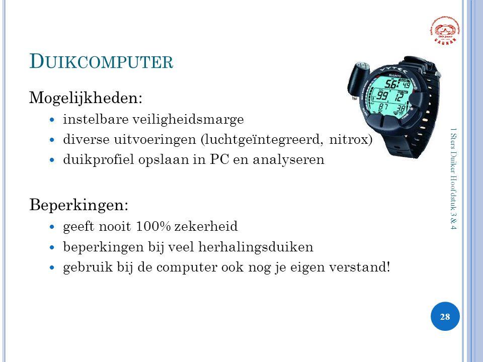 D UIKCOMPUTER Mogelijkheden: instelbare veiligheidsmarge diverse uitvoeringen (luchtgeïntegreerd, nitrox) duikprofiel opslaan in PC en analyseren Bepe