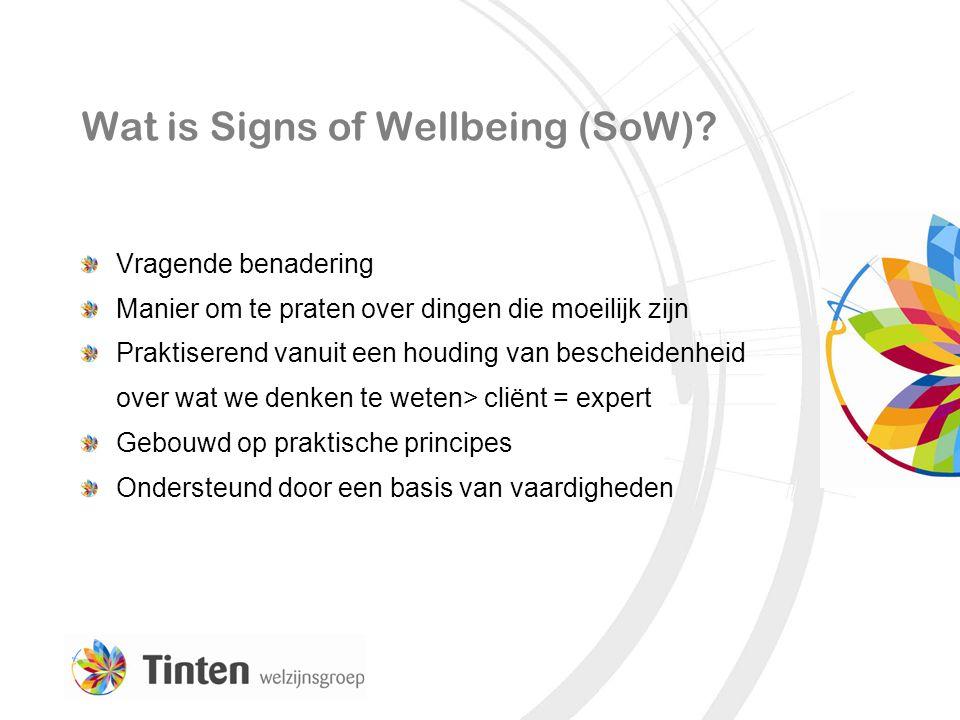 Wat is Signs of Wellbeing (SoW)? Vragende benadering Manier om te praten over dingen die moeilijk zijn Praktiserend vanuit een houding van bescheidenh