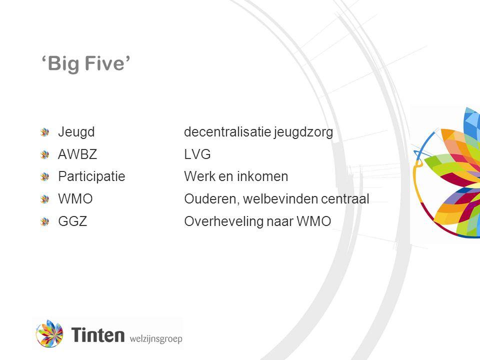'Big Five' Jeugd decentralisatie jeugdzorg AWBZLVG ParticipatieWerk en inkomen WMOOuderen, welbevinden centraal GGZOverheveling naar WMO