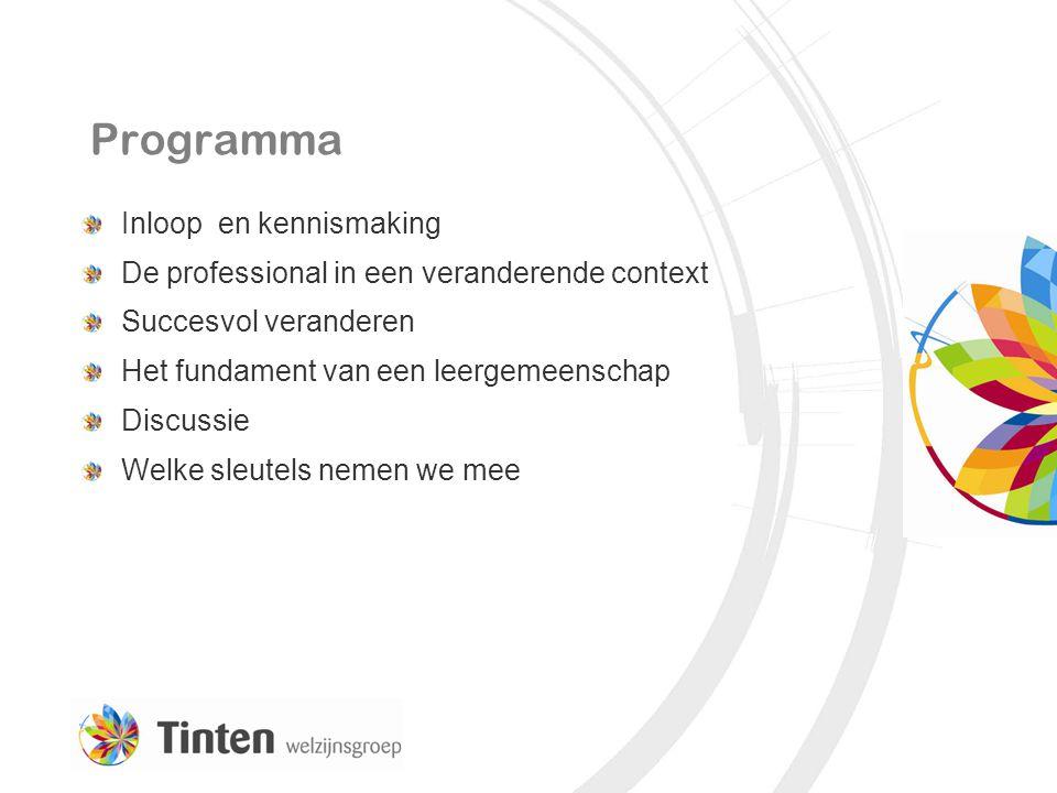 Programma Inloop en kennismaking De professional in een veranderende context Succesvol veranderen Het fundament van een leergemeenschap Discussie Welk