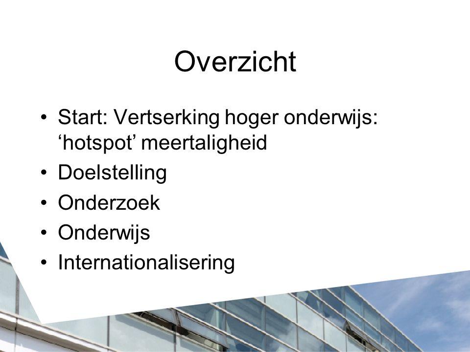 'Hotspot' Meertaligheid Fryslân: 'laboratory of multilinugalism' Gemeenschappelijk lectoraat van: - Stenden hogeschool - NHL hogeschool (penvoerder) - Fryske Akademy (afgehaakt) Bekostiging: 50% prov.