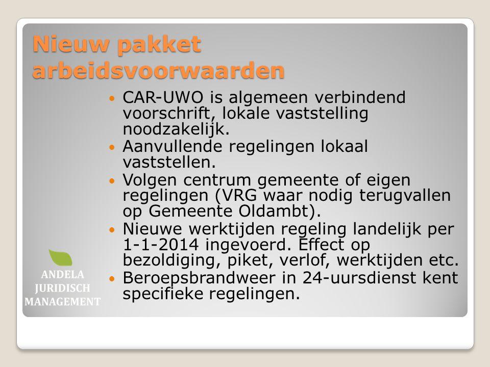 Nieuw pakket arbeidsvoorwaarden CAR-UWO is algemeen verbindend voorschrift, lokale vaststelling noodzakelijk. Aanvullende regelingen lokaal vaststelle