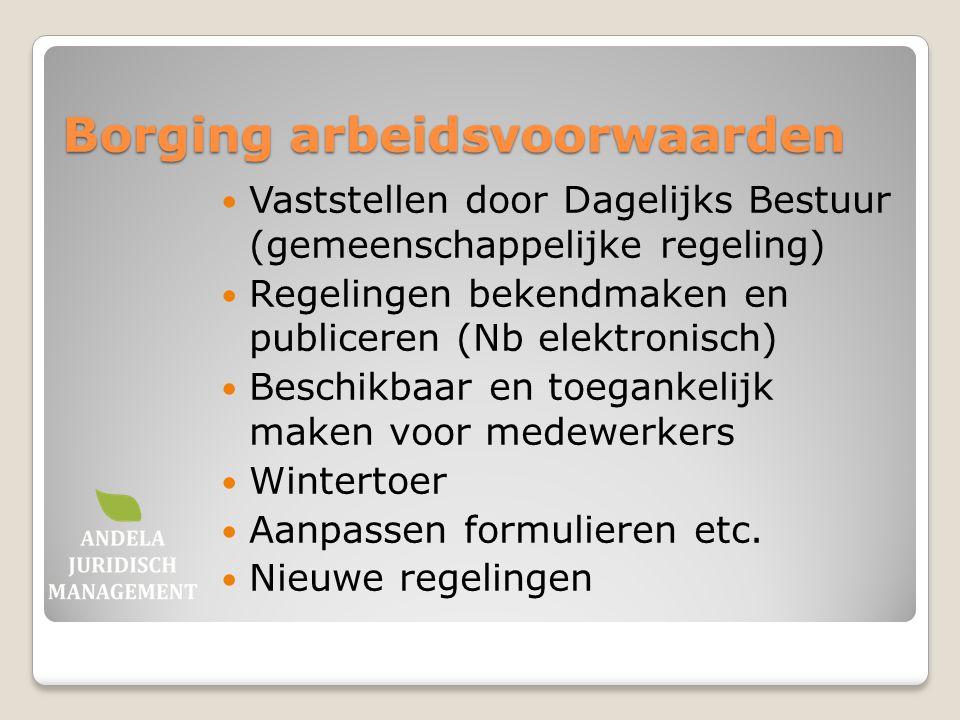 Borging arbeidsvoorwaarden Vaststellen door Dagelijks Bestuur (gemeenschappelijke regeling) Regelingen bekendmaken en publiceren (Nb elektronisch) Bes