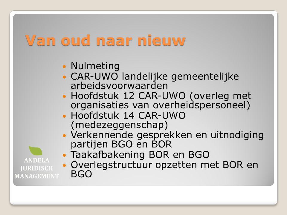 Van oud naar nieuw Nulmeting CAR-UWO landelijke gemeentelijke arbeidsvoorwaarden Hoofdstuk 12 CAR-UWO (overleg met organisaties van overheidspersoneel