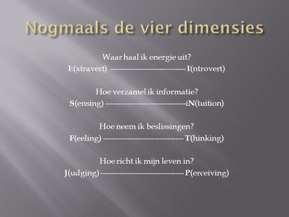 Waar haal ik energie uit? E (xtravert) ---------------------------- I (ntrovert) Hoe verzamel ik informatie? S (ensing) ------------------------------
