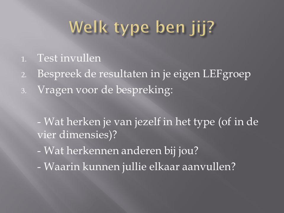 1. Test invullen 2. Bespreek de resultaten in je eigen LEFgroep 3. Vragen voor de bespreking: - Wat herken je van jezelf in het type (of in de vier di