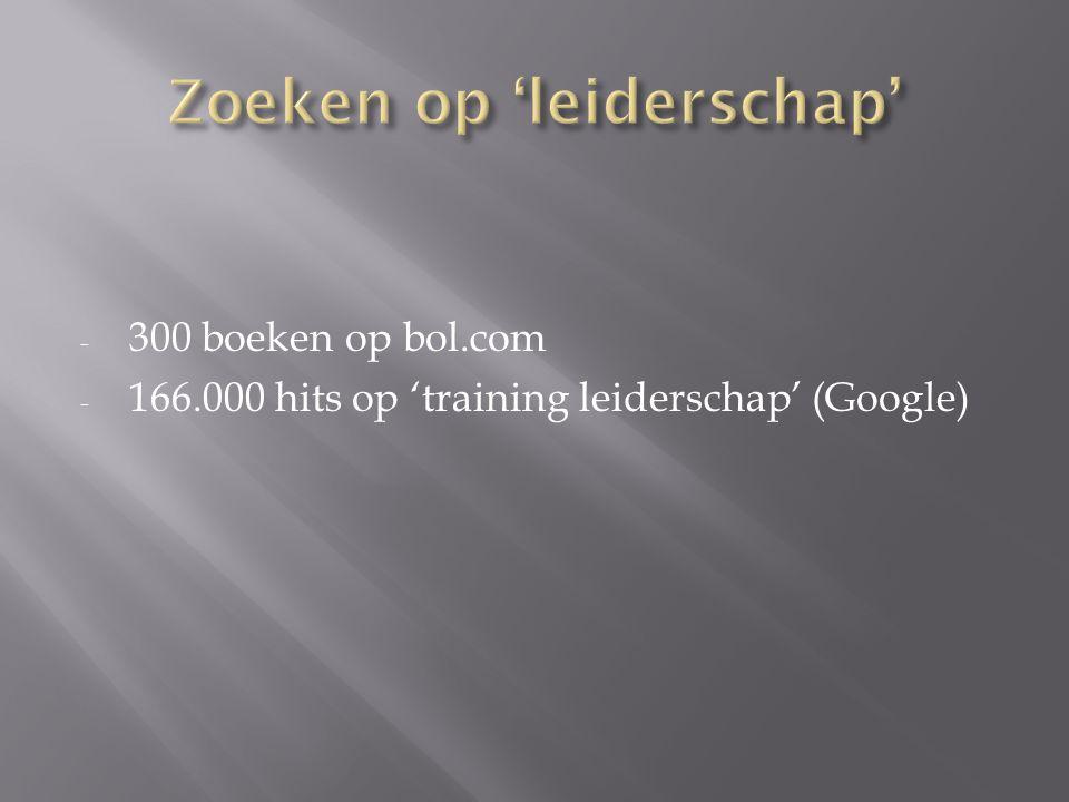 - 300 boeken op bol.com - 166.000 hits op 'training leiderschap' (Google)