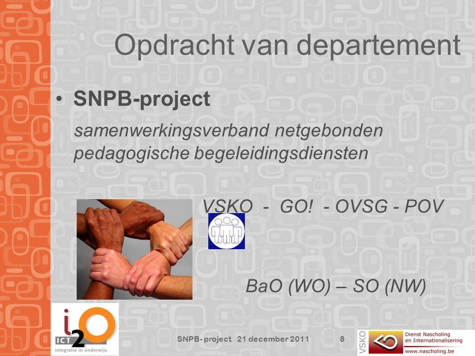 Opdracht van departement SNPB-project samenwerkingsverband netgebonden pedagogische begeleidingsdiensten VSKO - GO.