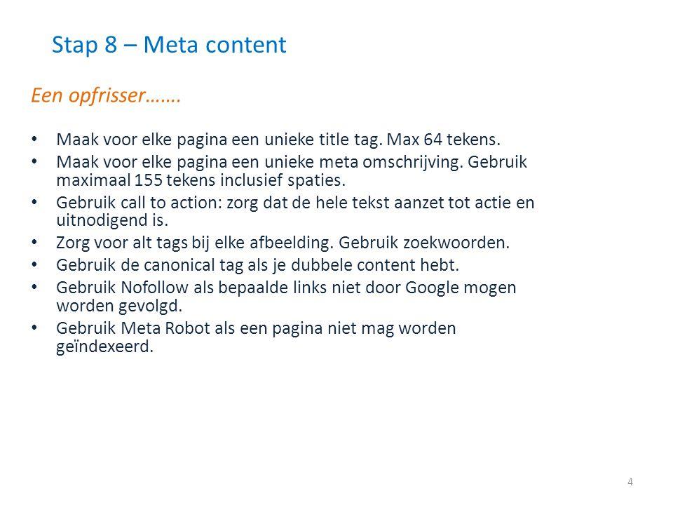 Stap 8 – Meta content – aan de slag.