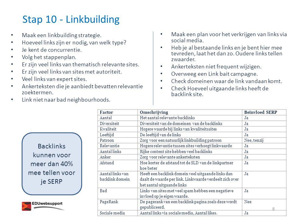 Stap 10 - Linkbuilding – aan de slag.