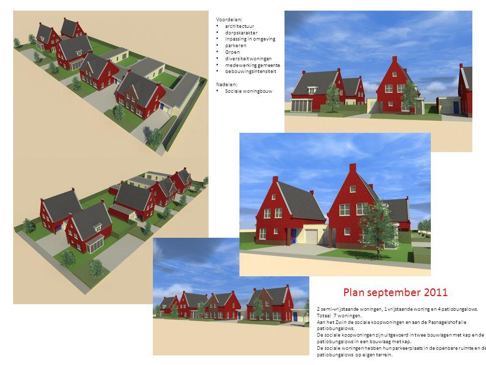 Plan september 2011 2 semi-vrijstaande woningen, 1 vrijstaande woning en 4 patiobungalows.
