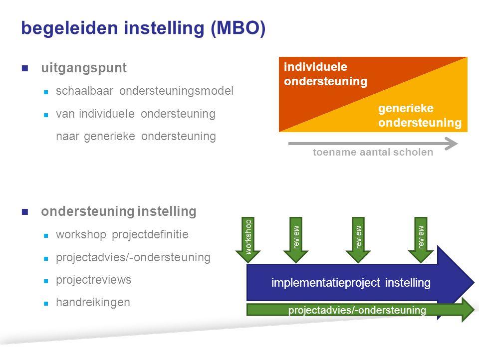begeleiden instelling (MBO) uitgangspunt schaalbaar ondersteuningsmodel van individuele ondersteuning naar generieke ondersteuning ondersteuning inste