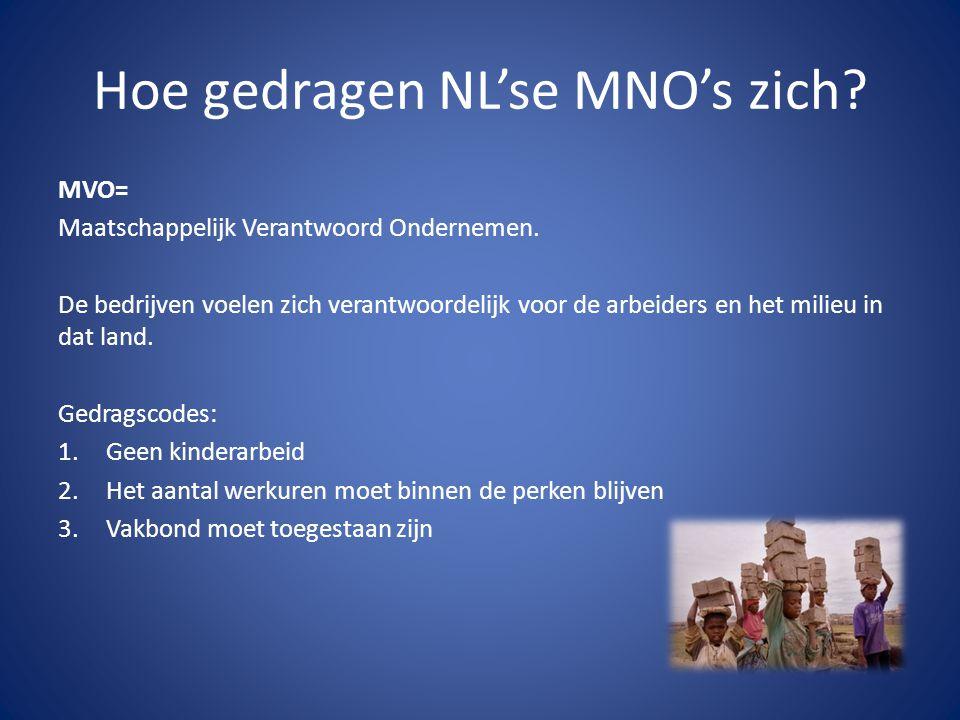 Hoe gedragen NL'se MNO's zich? MVO= Maatschappelijk Verantwoord Ondernemen. De bedrijven voelen zich verantwoordelijk voor de arbeiders en het milieu