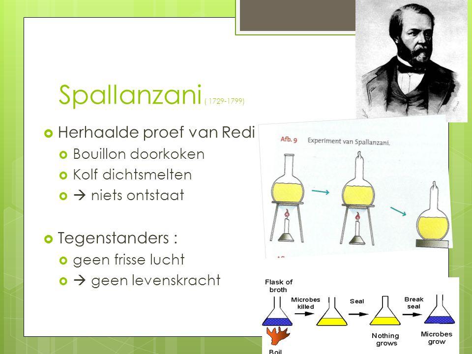 Spallanzani ( 1729-1799)  Herhaalde proef van Redi  Bouillon doorkoken  Kolf dichtsmelten   niets ontstaat  Tegenstanders :  geen frisse lucht