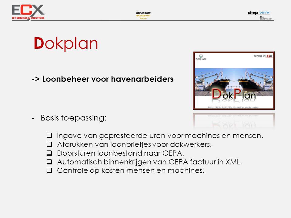 D okplan -> Loonbeheer voor havenarbeiders -Basis toepassing:  Ingave van gepresteerde uren voor machines en mensen.  Afdrukken van loonbriefjes voo