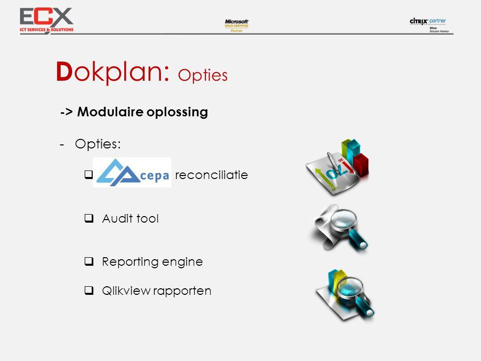 -> Modulaire oplossing -Opties:  reconciliatie  Audit tool  Reporting engine  Qlikview rapporten D okplan: Opties